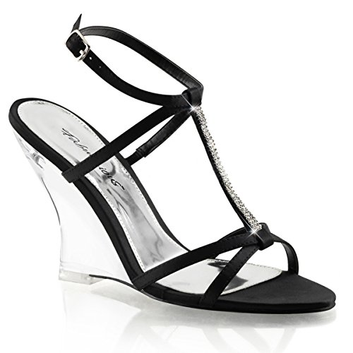 s Strappy Black Wedge Sandals Shoes with Rhinestones and 4'' Clear Heels Size: 7 (4' T-strap Sandal)