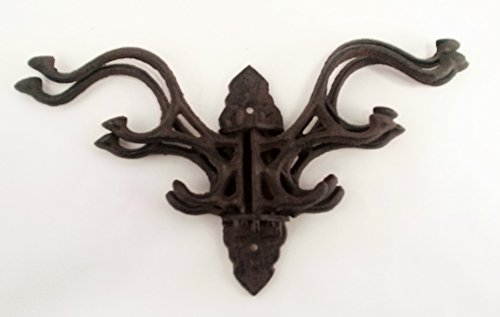 Victorian Wide Bench (Aunt Cris' Products - Heavy Cast Iron - 5 - Swing Coat Hook - Elegant Scroll Work Design - Victorian Style Wall Hung - Primitive Look)