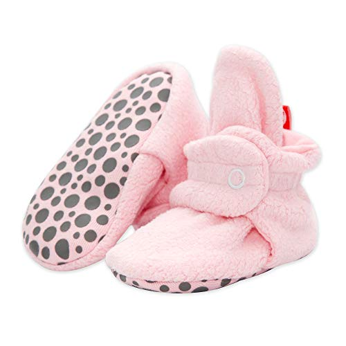 Zutano Cozie Fleece Baby Booties with Cotton Lining and Grippers, Unisex, For Infants, Babies, and Toddlers, Baby Pink, 18M from Zutano