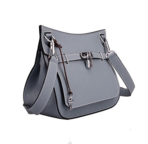 With Padlock Satchel Leather Genuine Ainifeel Bag Messenger Blue Women's Grey Silver Hardware 5q0wg