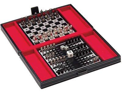 Mini Travel Chess, Checker And Backgammon Game