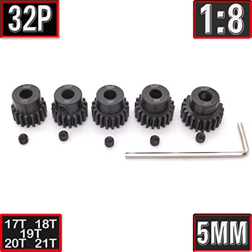 32P 17T 18T 19T 20T 21T Pinion Gear with Screw Driver for 5mm Shaft 1/8 RC Brushless Brush Motor by MakerDoIt