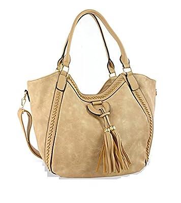 HX Tassel Braided Western Cowgirl Messenger Bag Cross Body Purse Jp Brown Camel Tan