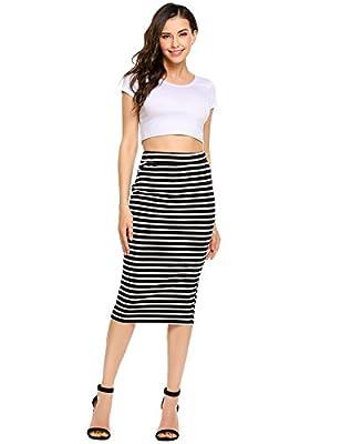 ANGVNS Striped Stretch Elastic Waist Knee Length Pencil Skirt