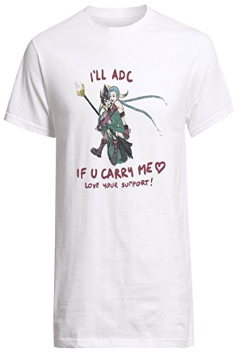 League of Legends Champion Jinx and Nami I Will Adc If You Carry Me Shirt Custom Fruit of the Loom T-shirt (XXL)