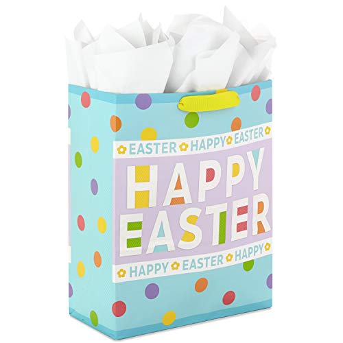 Hallmark 15″ Extra Large Easter Gift Bag with Tissue Paper (Happy Easter, Polka Dots) for Easter Baskets, Easter Egg Hunts and Kids Presents