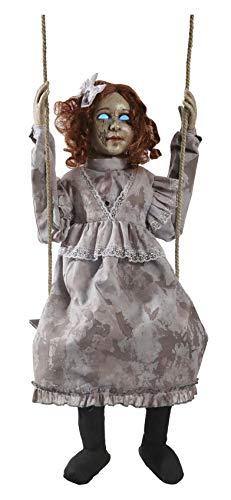 HALLOWEEN ANIMATED SWINGING DECREPIT DOLL GIRL PROP DECORATION -Doll is 30 inches -