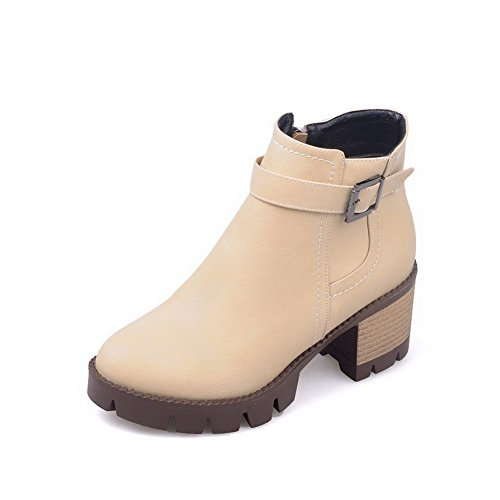 WeenFashion Solid Toe Closed Women's Boots Kitten Round Heels PU Zipper apricot RR7rxwpq