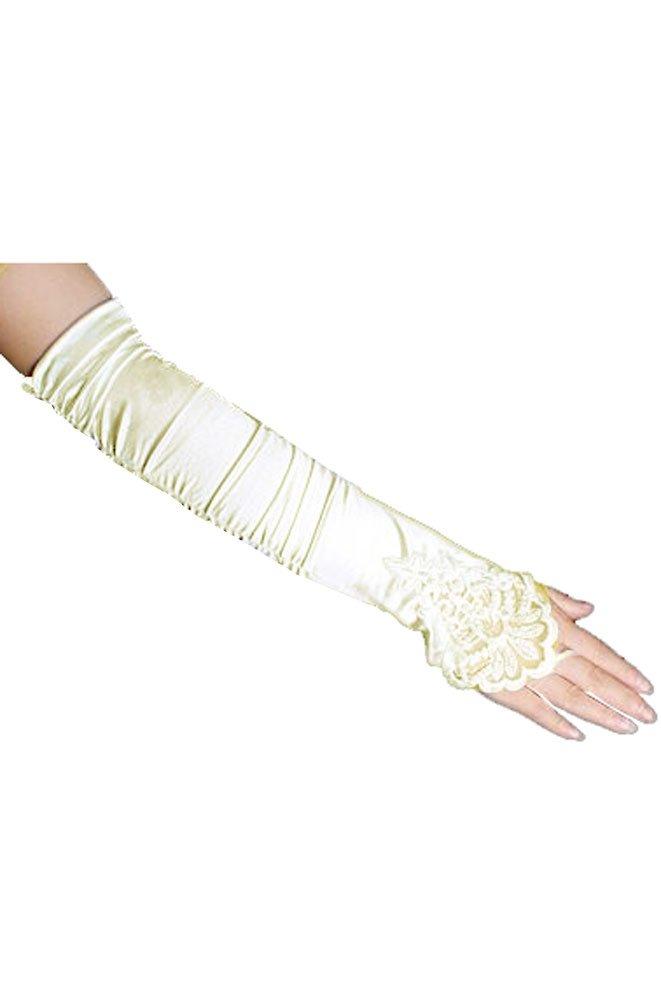 17'' Ivory Fingerless Lace Stretch Satin Bridal Gloves