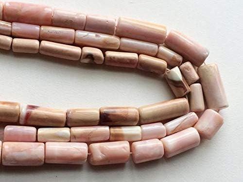 Beads Gemstone 1 Strand Natural Peruvian Pink Opal, Plain Pink Opal Tubes, Pink Opal Necklace, 16-20mm, 13 Inch Code-HIGH-16695