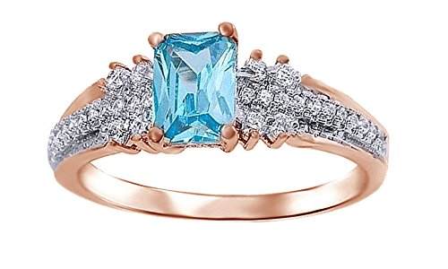Blue Aquamarine & White Cubic Zirconia Solitaire Ring In 14k Rose Gold Over Sterling Silver
