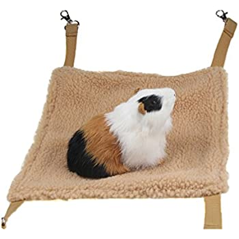 Emours Small Animal Hammock Hamster House Hanging Bed Cage Toys for Mice Rats Ferret Chinchilla and More, Brown