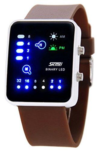 Wutonyu Binary Digital Led Waterproof Boys Girls Sport Casual Wrist Watches  Brown