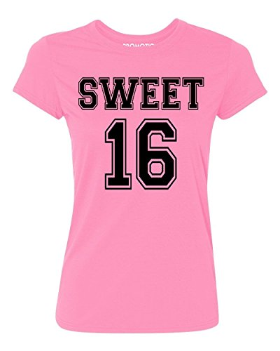 P&B Sweet 16 Birthday Women's T-Shirt, L, Azalea Pink