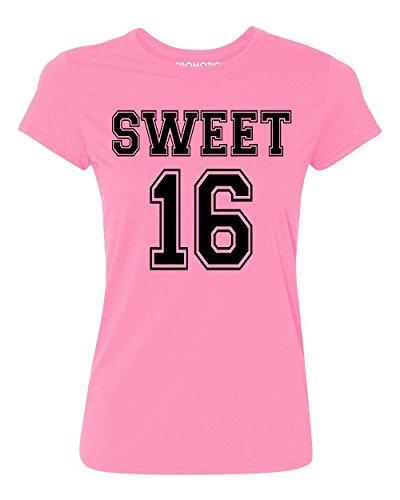 P&B Sweet 16 Birthday Women's T-Shirt, M, Azalea Pink