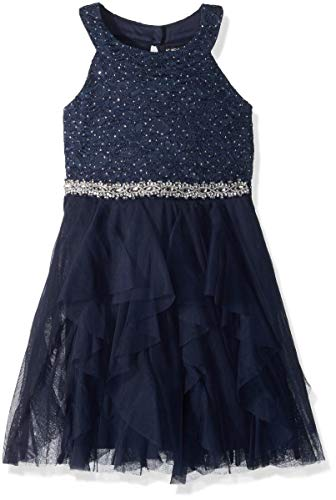 My Michelle Girls' Big Special Occasion Lace and Tulle Dress, Navy, 12 (Michelle Clothes My)