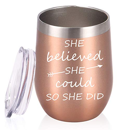 She Believed She Could So She Did Birthday Gifts Wine Tumbler, 12 Oz Insulated Wine Tumbler, Inspirational Graduation Congratulation Gift for Women Her BFFs Sister Girlfriend Coworker, Rose Gold