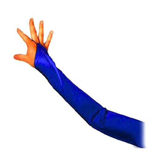 SACAS Long Fingerless Satin Gloves in Royal Blue One Size