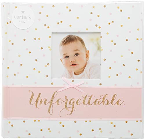 Carter's Pink and Gold Polka Dot Slim Bound Photo Album for Baby Girls, Holds 160 Photos, 40 Pages (Baby Pretty Album)