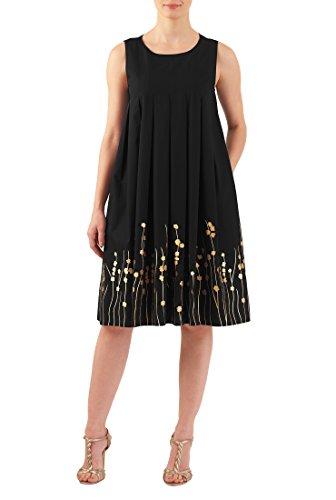 eShakti Women's Floral embellished cotton poplin trapeze dress 5X-34W Tall (Sleeveless Stretch Poplin Dress)