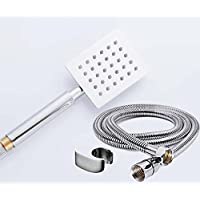 Make In India Ultra Slim Square Hand Shower with 1.5 m Shower Tube with Wall Stand, Large, Silver