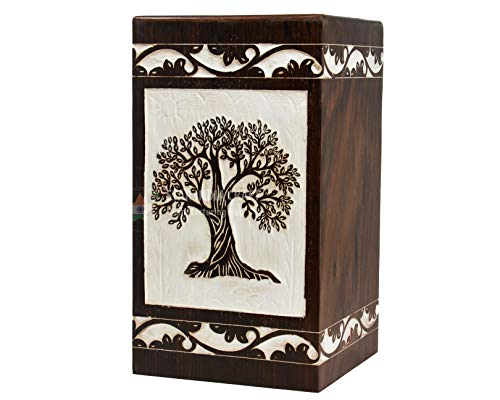 Box Wooden Tribute (STAR INDIA CRAFT Tree Life Engraving Rosewood Cremation Urns Ashes, Funeral Urns Human Ashes Adult Large Keepsake Urn, Wooden Box 250 Cu/in)