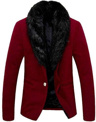 Zago Men Casual Button Detachable Fur Neck Fitted Blazers Jacket xl wine