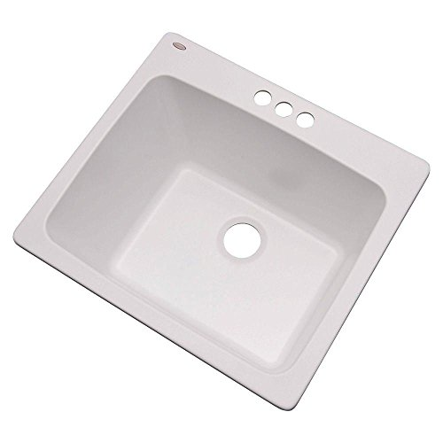 Thermocast 32300NSC Wakefield Composite Utility Sink with Three Holes, 25-Inch, White Natural Stone