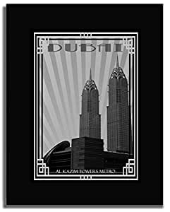 Al Kazim Towers Metro - Black And White With Silver Border F04-m (a1) - Framed