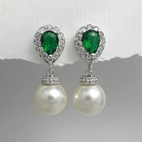 (Green Wedding Earrings, Pearl Earrings, Emerald Green Earrings, Christmas Earrings, Green Wedding Earrings)