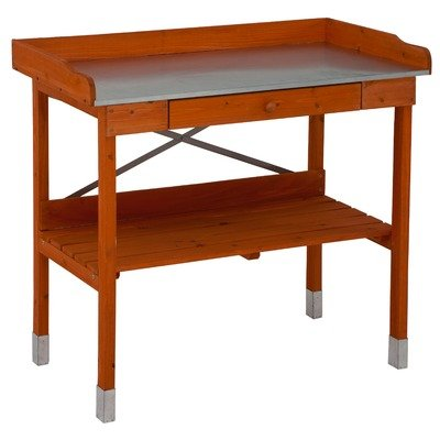 Cypress Wood Lotus Potting Bench with Metal - Bench Potting Cedar