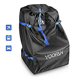 Car Seat Bag- Universal Car Seat Travel Bag with Backpack& Handle 2 Carrying Way Car Seat travel Bag for Airplane with Adjustable Side Straps for Car Seat/Stroller/Buggy/Puschair/Pram