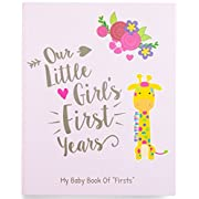 Ronica Memory Book for Baby Girl - Photo Album, Easy to Use Keepsake Scrapbook - Modern baby shower gift & keepsake for new parents to record photos & milestones
