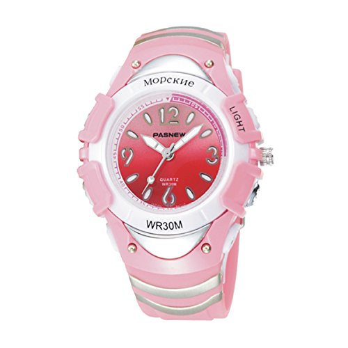 Kids Digital LED Sports Waterproof Analog 7 Colors Watches for Boys Girls 316G (Pink)