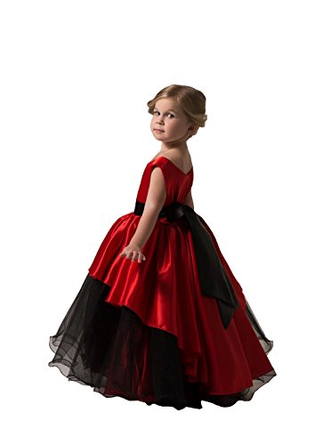 Banfvting Graduation Gown Children Red and Black Floor Length Flower Girl Dresses Sleeveless With Sash (6) by Banfvting (Image #1)