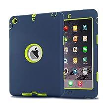 iPad Mini Case, iPad Mini 2/ 3 Case - MAKEIT 3in1 Hybrid Shockproof Case For iPad Mini 1/2/3 (Dark Blue/Fluorescent green)