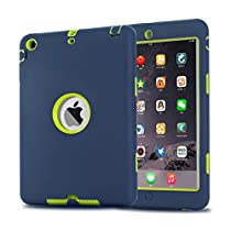iPad Mini Case, iPad Mini 2/ 3 Case - MAKEIT 3in1 Hybrid Shockproof Case For iPad Mini 1/2/3 (Black/Dark Green)