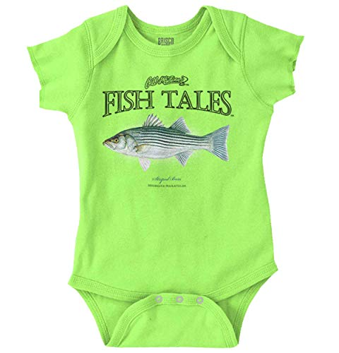 - Gills Fish Tales Striped Bass Sea Fishing Romper Bodysuit