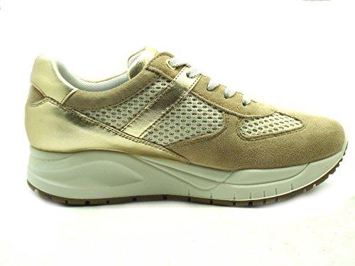 00 amp;co 77583 Donna Sneakers oro rete Camoscio Igi begie EdqO7E