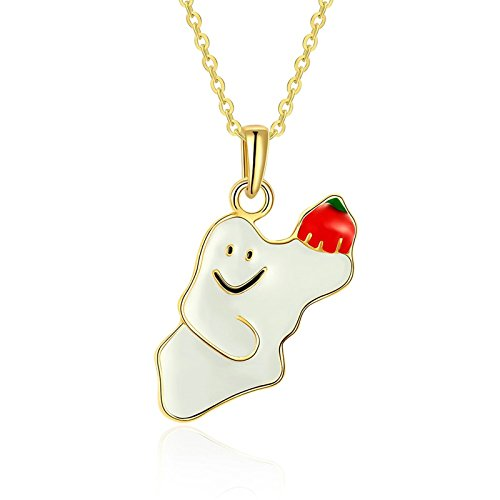 Christian Friendly Halloween Costumes (Beydodo Gold Plated Womens Necklace Christmas Gift Smiley Snowman White Adjustable Chain(18in + 2in))
