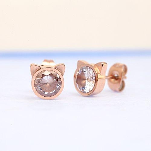 HANFLY Cat stud earrings Cat Ears Earrings Fashion earrings Rhinestone stud earrings (White Rhinestone) by HANFLY (Image #2)