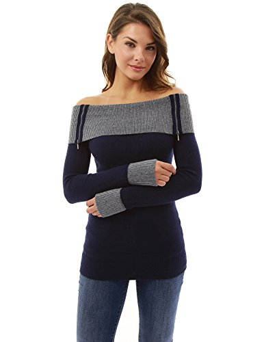 PattyBoutik Women's Off Shoulder Tunic Sweater (Navy Blue S)