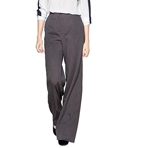 Flannel Wide Leg Trousers (La Redoute Collections Womens Wide Leg Flannel Trousers, Length 32.5 Grey Size Us 6 - Fr 36)