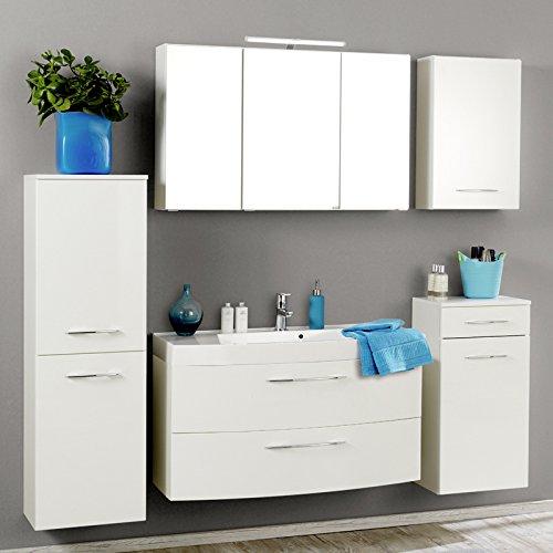 Komplett Badezimmer Set Badmbel Hochglanz wei Spiegelschrank Waschtisch LED