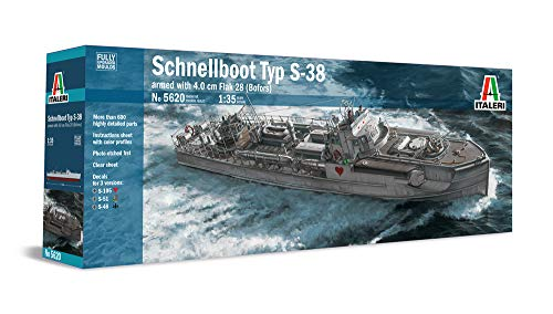 Italeri-5620-German-WWII-Schnellboot-S-38-Torpedo-Boat-S-Boot-Armed-with-4-cm-Flak-28-Bofors-Fully-Upgraded-Moulds-135-Scale-Model-Kit