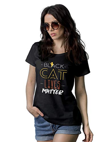 (Black Short Sleeve Tee - Cat T Shirts for Women   Black Cat, M)