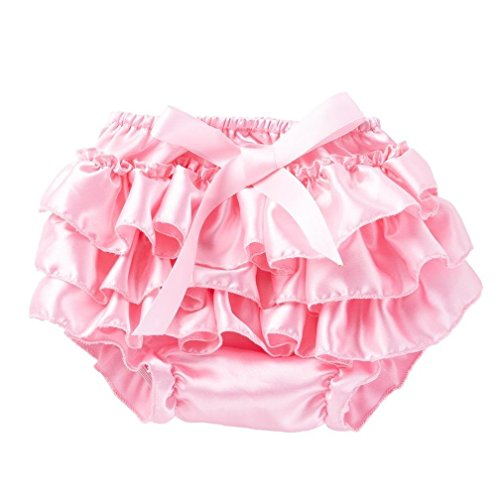 Winsummer Newborn Baby Girls Christmas Halloween Satin Lace Ruffle Bloomers Diaper Covers Bowknot Underwear for 0-12M (Pink, 12M) -