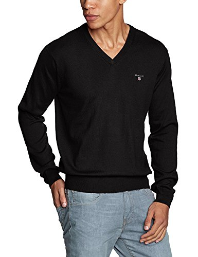 GANT Men's V-Neck Long Sleeve Jumper - Black, S