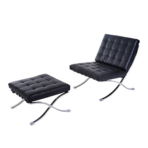 Price comparison product image HomCom Modern Barcelona Style Chair and Ottoman - Black