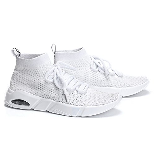 Top High Breathable Shoes Casual Men Gym Running White Shoes Knit for Sport Shoes wqnIRn1XB4